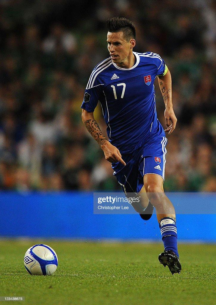 Marek Hamsik of Slovakia during the UEFA EURO 2012 group B Qualifier match between Republic of Ireland and Slovakia at the AVIVA Stadium on September...