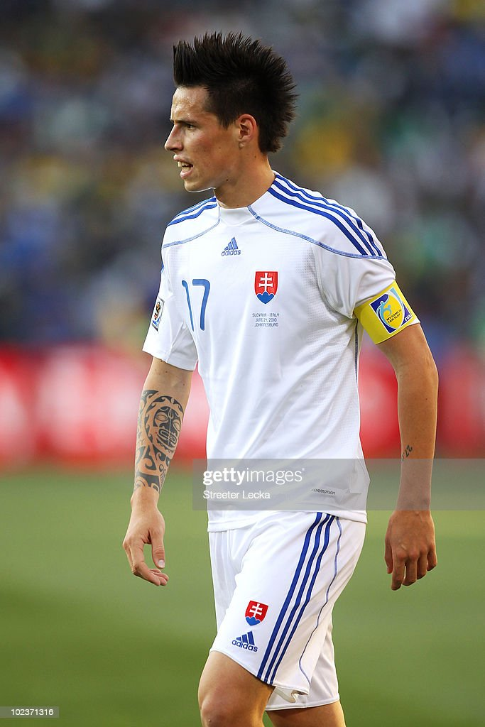 Marek Hamsik of Slovakia in action during the 2010 FIFA World Cup South Africa Group F match between Slovakia and Italy at Ellis Park Stadium on June 24, 2010 in Johannesburg, South Africa.