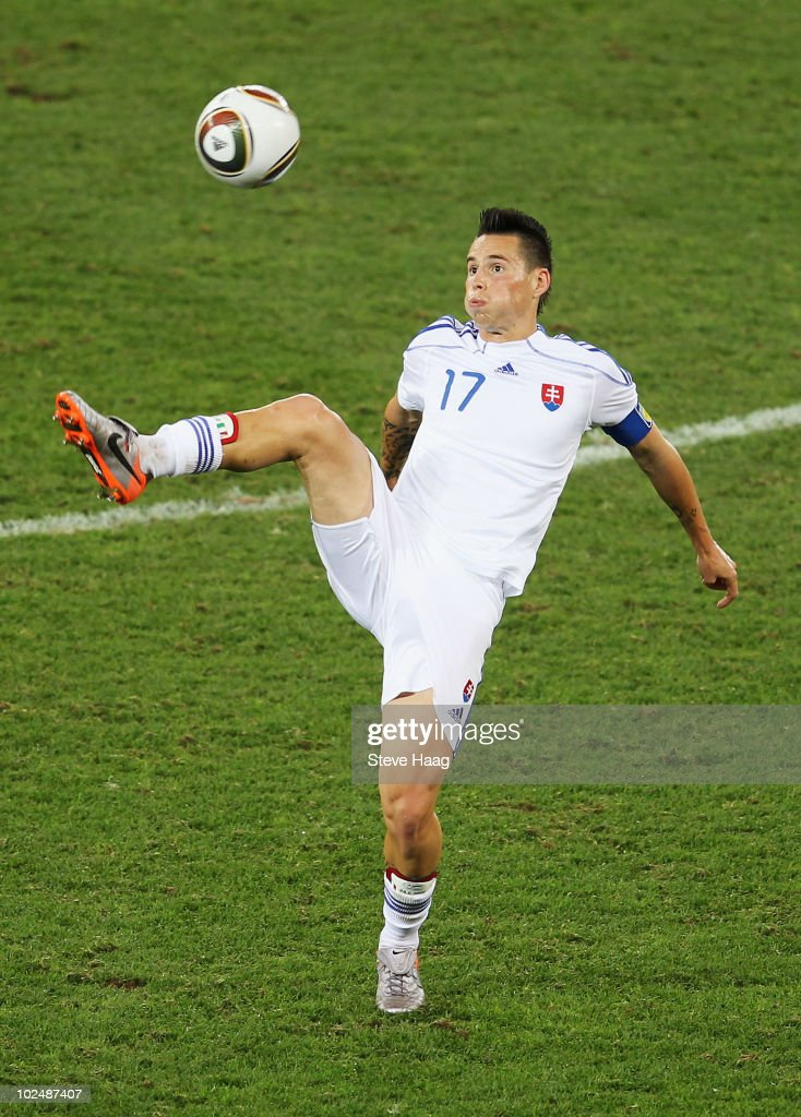 Marek Hamsik of Slovakia in action during the 2010 FIFA World Cup South Africa Round of Sixteen match between Netherlands and Slovakia at Durban Stadium on June 28, 2010 in Durban, South Africa.