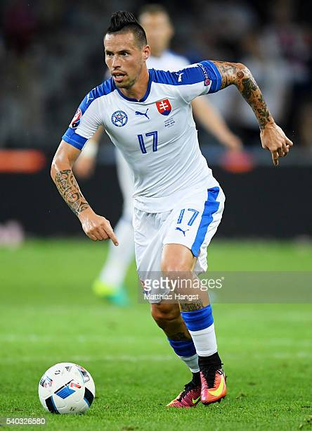 Marek Hamsik of Slovakia in action during the UEFA EURO 2016 Group B match between Russia and Slovakia at Stade PierreMauroy on June 15 2016 in Lille...