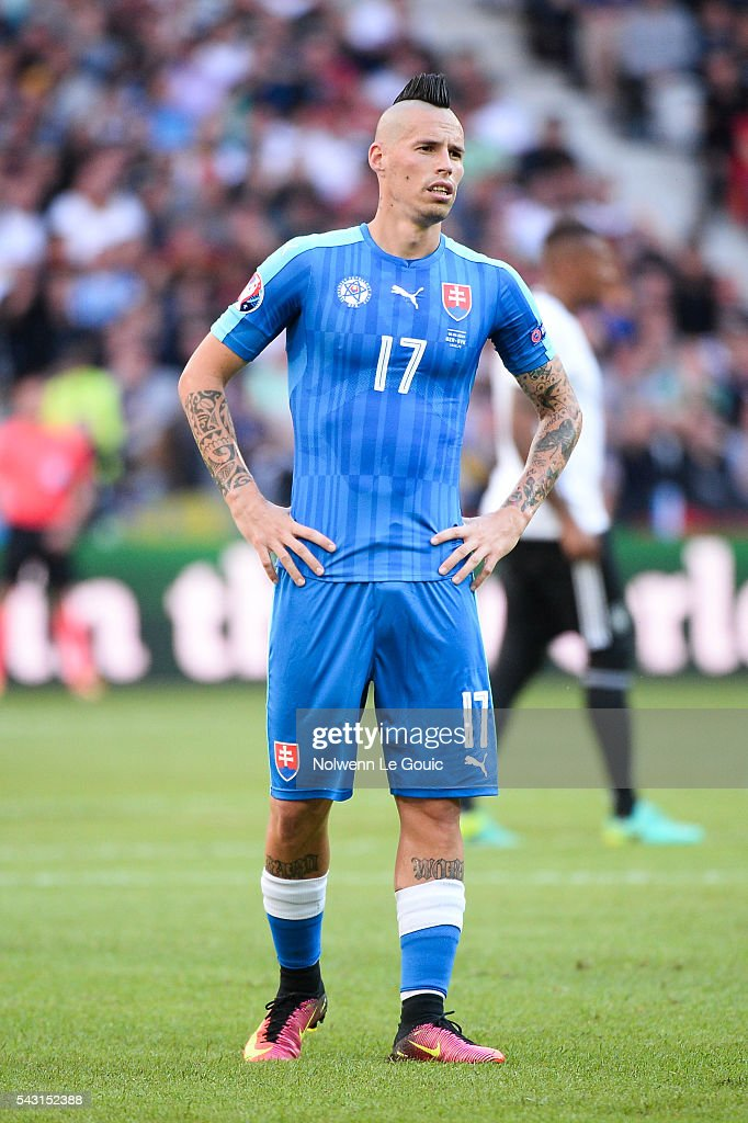 Marek Hamsik of Slovakia is dejected during the European Championship match Round of 16 between Germany and Slovakia at Stade Pierre-Mauroy on June 26, 2016 in Lille, France.