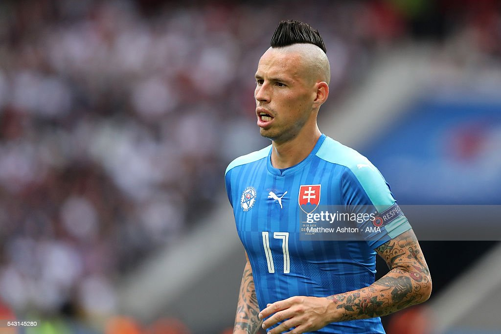 Marek Hamsik of Slovakia looks on during the UEFA Euro 2016 Round of 16 match between Germany and Slovakia at Stade Pierre-Mauroy on June 26, 2016 in Lille, France.