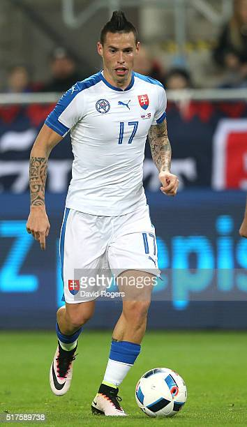 Marek Hamsik of Slovakia runs with the ball during the international friendly match between Slovakia and Latvia held at Stadion Antona Malatinskeho...
