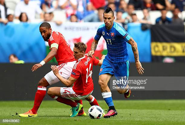 Marek Hamsik of Slovakia runs with the ball during the UEFA EURO 2016 Group B match between Wales and Slovakia at Stade Matmut Atlantique on June 11...