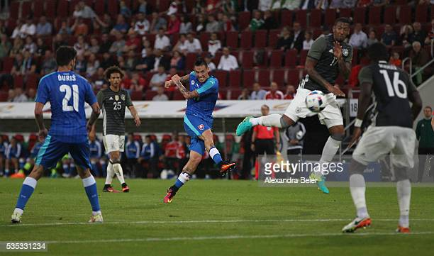 Marek Hamsik of Slovakia scores his first goal during the international friendly football match between Germany and Slovakia at WWKArena on May 29...