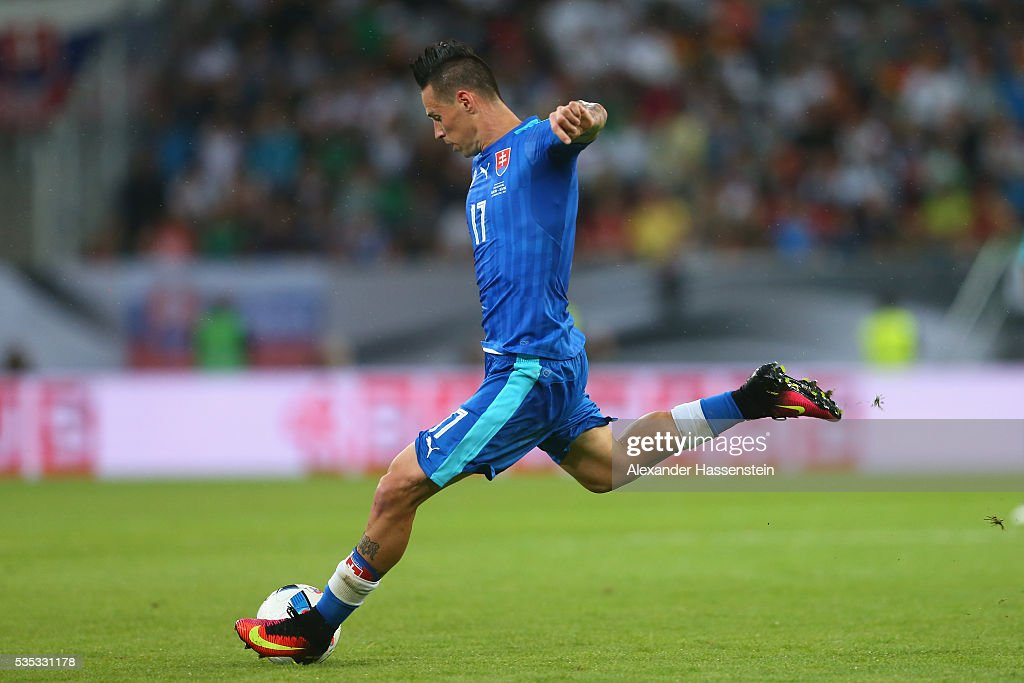 Marek Hamsik of Slovakia scores the first team goal during the international friendly match between Germany and Slovakia at WWK-Arena on May 29, 2016 in Augsburg, Germany.