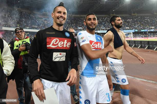 Marek Hamsik of SSC Napoli and Faouzi Ghoulam of SSC Napoli during the Serie A TIM match between SSC Napoli and ACF Fiorentina at Stadio San Paolo...