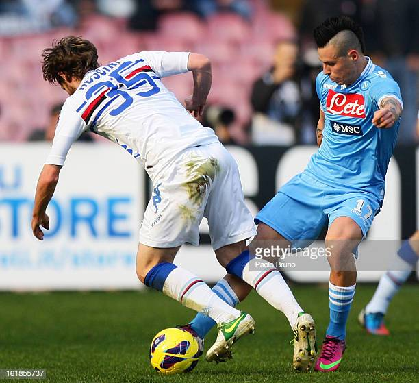 Marek Hamsik of SSC Napoli and Jonathan Rossini of UC Sampdoria compete for the ball with during the Serie A match between SSC Napoli and UC...