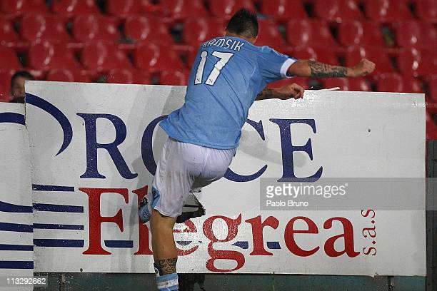 Marek Hamsik of SSC Napoli celebrates after scoring the opening goal during the Serie A match between SSC Napoli and Genoa CFC at Stadio San Paolo on...