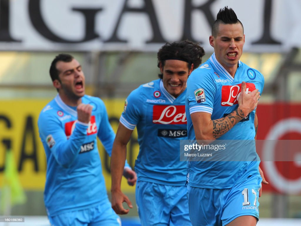 Marek Hamsik of SSC Napoli celebrates after scoring the opening goal of the Serie A match between Parma FC and SSC Napoli at Stadio Ennio Tardini on...