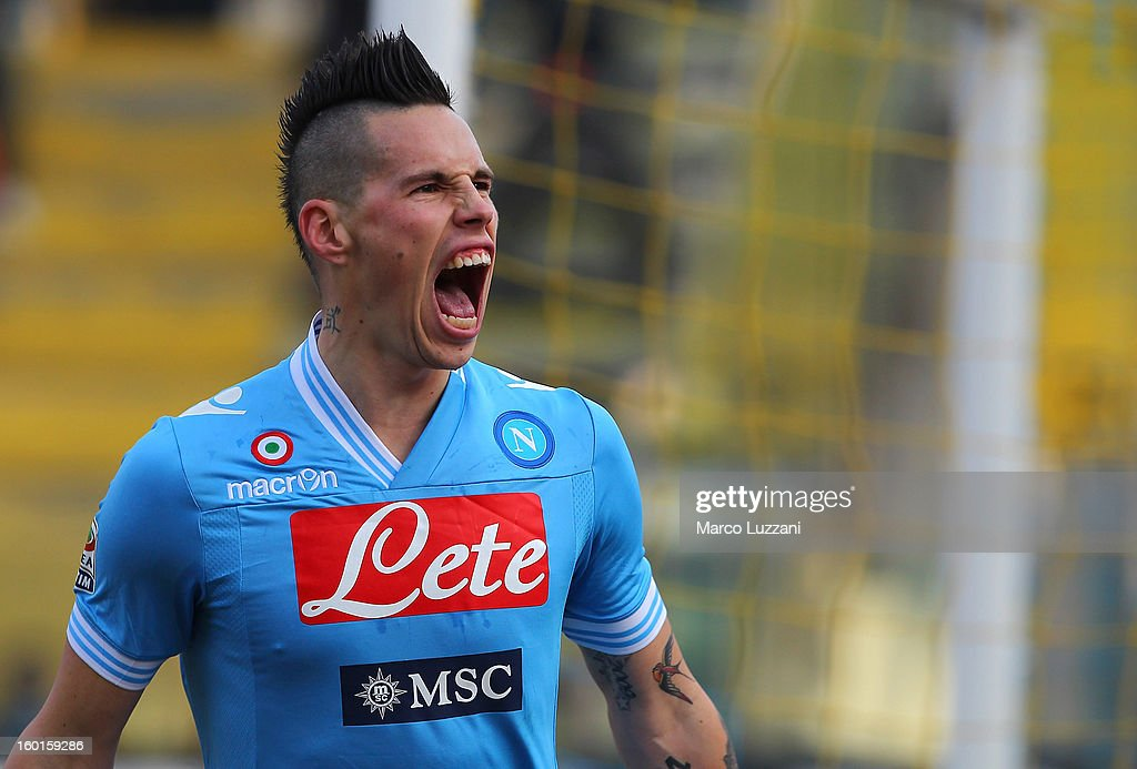 Marek Hamsik of SSC Napoli celebrates after scoring the opening goal during the Serie A match between Parma FC and SSC Napoli at Stadio Ennio Tardini...