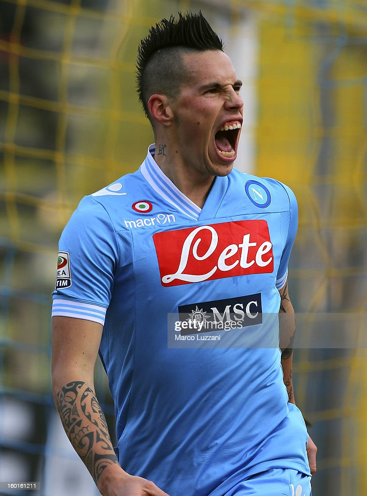 Marek Hamsik of SSC Napoli celebrates after scoring the opening goal during the Serie A match between Parma FC and SSC Napoli at Stadio Ennio Tardini on January 27, 2013 in Parma, Italy.