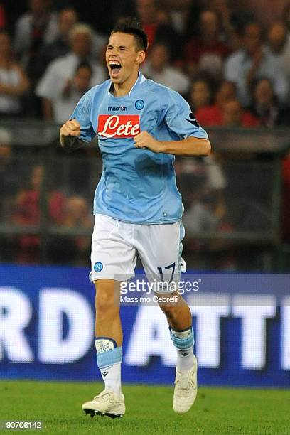 Marek Hamsik of SSC Napoli celebrates after scoring the opening goal during the Serie A match between Genoa CFC and SSC Napoli at Stadio Luigi...