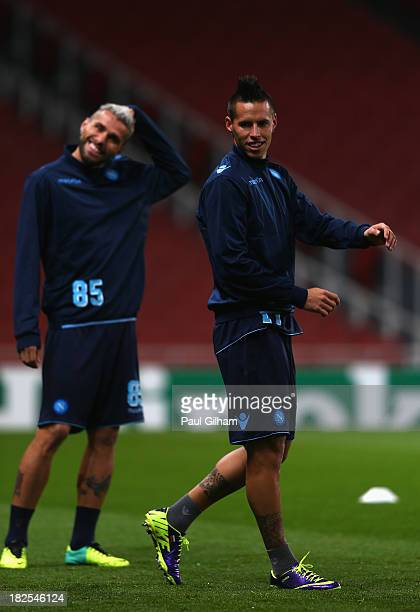 Marek Hamsik of SSC Napoli in action during a SSC Napoli training session ahead of their Champions League Group F match against Arsenal at Emirates...