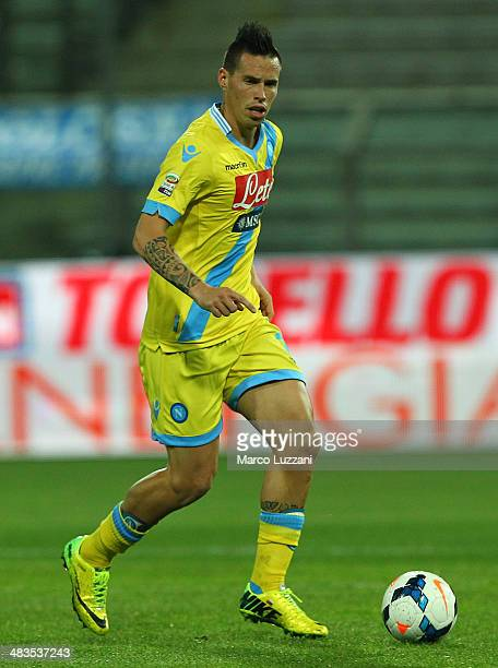 Marek Hamsik of SSC Napoli in action during the Serie A match between Parma FC and SSC Napoli at Stadio Ennio Tardini on April 6 2014 in Parma Italy