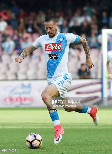 Marek Hamsik of SSC Napoli in action during the Serie A match between SSC Napoli and Cagliari Calcio at Stadio San Paolo on May 6 2017 in Naples Italy