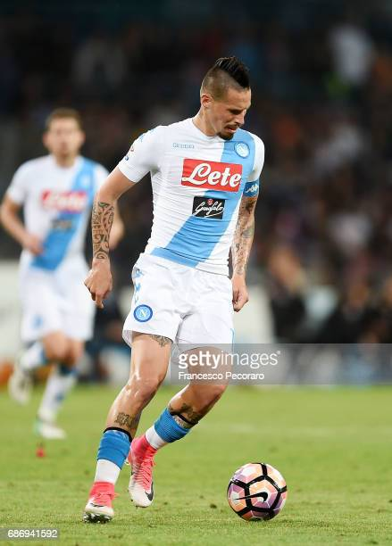 Marek Hamsik of SSC Napoli in action during the Serie A match between SSC Napoli and ACF Fiorentina at Stadio San Paolo on May 20 2017 in Naples Italy