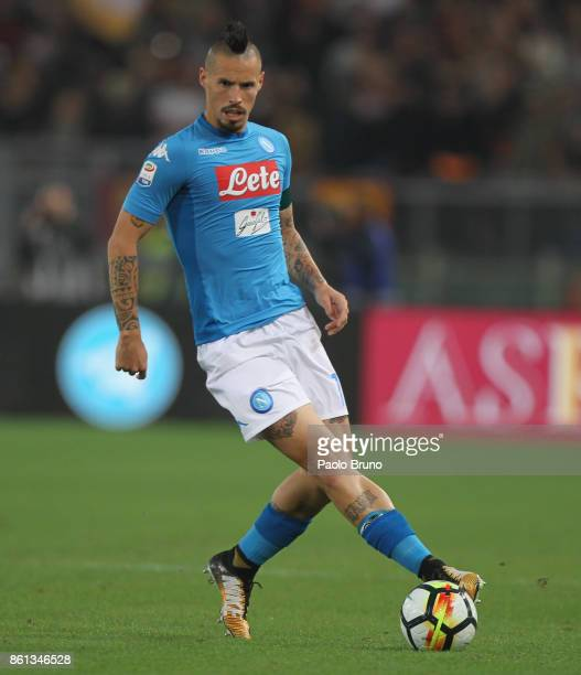 Marek Hamsik of SSC Napoli in action during the Serie A match between AS Roma and SSC Napoli at Stadio Olimpico on October 14 2017 in Rome Italy