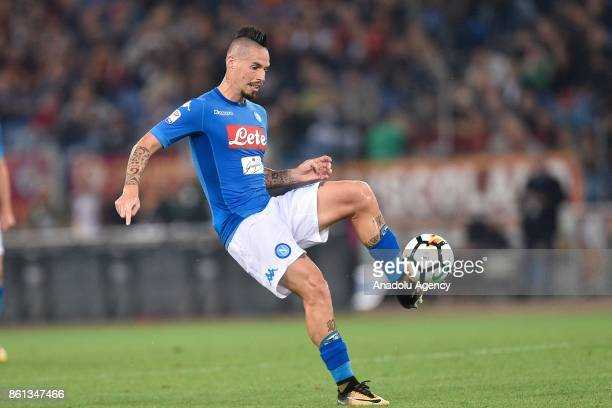Marek Hamsik of SSC Napoli in action during the Serie A soccer match between AS Roma and SSC Napoli at Stadio Olimpico in Rome Italy on October 14...