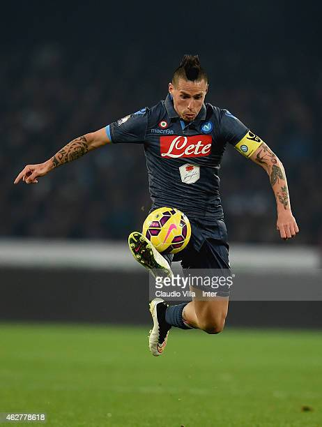 Marek Hamsik of SSC Napoli in action during the TIM Cup match between SSC Napoli and FC Internazionale at Stadio San Paolo on February 4 2015 in...