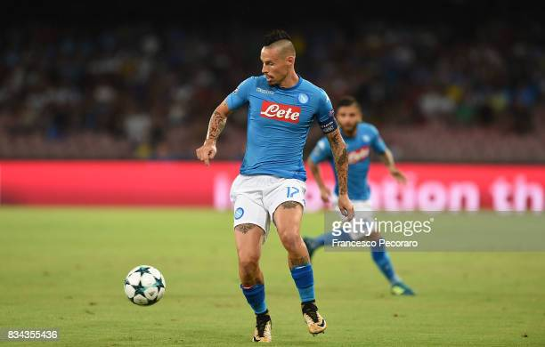 Marek Hamsik of SSC Napoli in action during the UEFA Champions League Qualifying PlayOffs Round First Leg match between SSC Napoli and OGC Nice at...