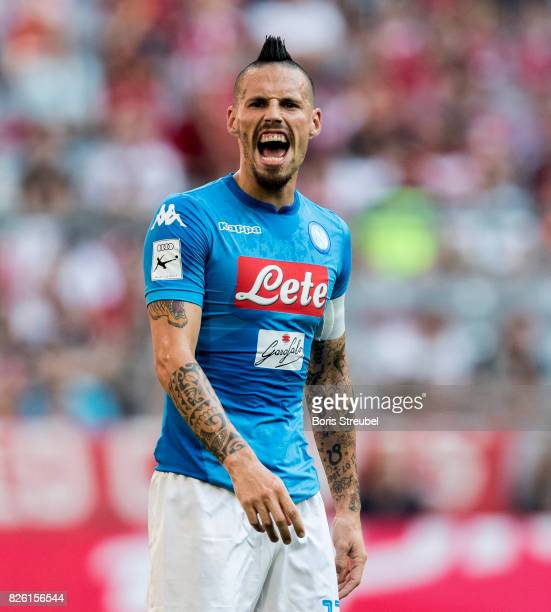 Marek Hamsik of SSC Napoli reacts during the Audi Cup 2017 match between SSC Napoli and FC Bayern Muenchen at Allianz Arena on August 2 2017 in...