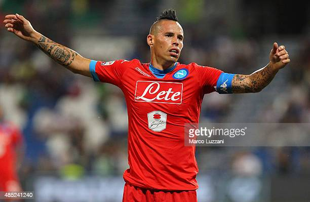 Marek Hamsik of SSC Napoli reacts during the Serie A match between US Sassuolo Calcio and SSC Napoli at Mapei Stadium Città del Tricolore on August...