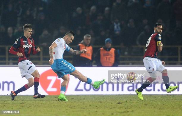 Marek Hamsik of SSC Napoli scores his team's seventh goal during the Serie A match between Bologna FC and SSC Napoli at Stadio Renato Dall'Ara on...