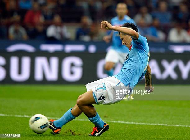 Marek Hamsik of SSC Napoli shoots to score his team's third goal during the Serie A match between FC Internazionale Milano and SSC Napoli at Stadio...