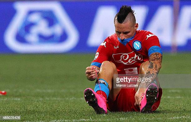 Marek Hamsik of SSC Napoli shows his dejection at the end of the Serie A match between US Sassuolo Calcio and SSC Napoli at Mapei Stadium Città del...