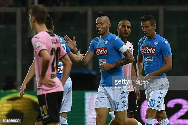 Marek Hamsil of Napoli celebrates after scoring the opening goal during the Serie a match between US Citta di Palermo and SSC Napoli at Stadio Renzo...