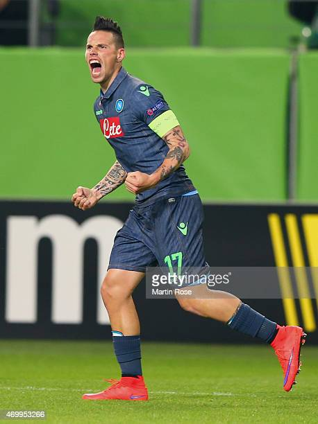 Marek Hamsík of Napoli celebrates as he scores their second goal during the UEFA Europa League Quarter Final first leg match between VfL Wolfsburg...