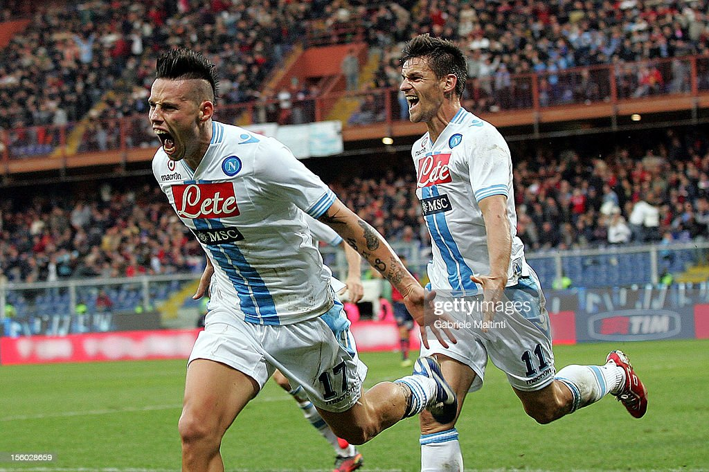 Marek Hmasik of SSC Napoli celebrates a goal during the Serie A match between Genoa CFC and SSC Napoli at Stadio Luigi Ferraris on November 11, 2012 in Genoa, Italy.