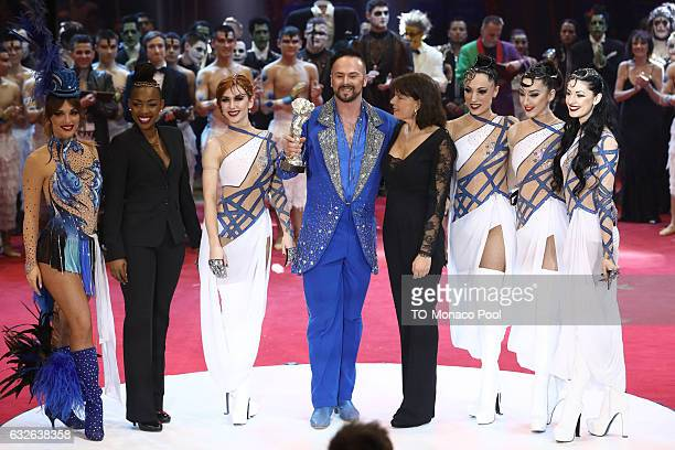 Marek Jama receives the Gold Clown from Princess Stephanie of Monaco during the awards ceremony of the 41st MonteCarlo International Circus Festival...