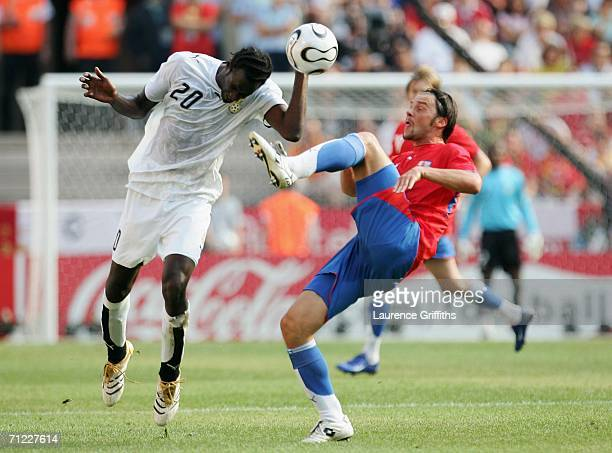 Marek Jankulovski of Czech Republic and Otto Addo of Ghana battle for the ball during the FIFA World Cup Germany 2006 Group E match between Czech...
