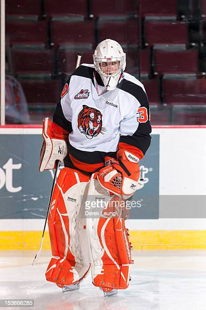 Marek Langhamer of the Medicine Hat Tigers skates against the Vancouver Giants in WHL action on October 5 2012 at Pacific Coliseum in Vancouver...