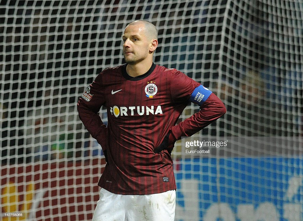 <a gi-track='captionPersonalityLinkClicked' href=/galleries/search?phrase=Marek+Matejovsky&family=editorial&specificpeople=3933822 ng-click='$event.stopPropagation()'>Marek Matejovsky</a> of AC Sparta Praha in action during the Czech Gambrinus Liga match between FC Slovan Liberec and AC Sparta Praha at the Stadion u Nisy on April 07, 2012 in Liberec, Czech Republic.