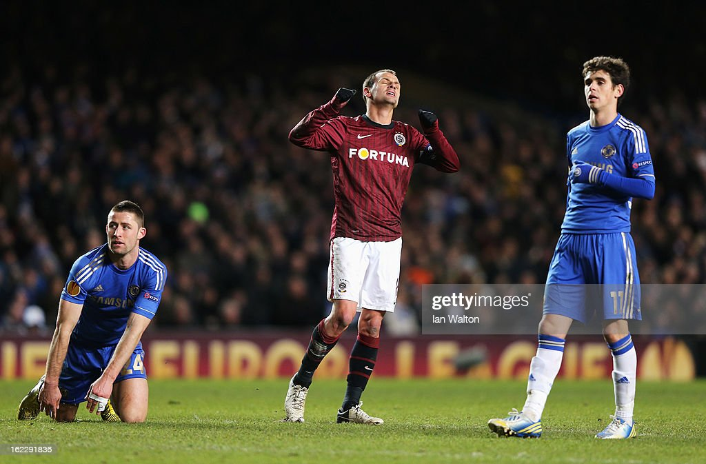 Marek Matejovsky of Sparta Praha looks dejected during the UEFA Europa League Round of 32 second leg match between Chelsea and Sparta Praha at Stamford Bridge on February 21, 2013 in London, England.