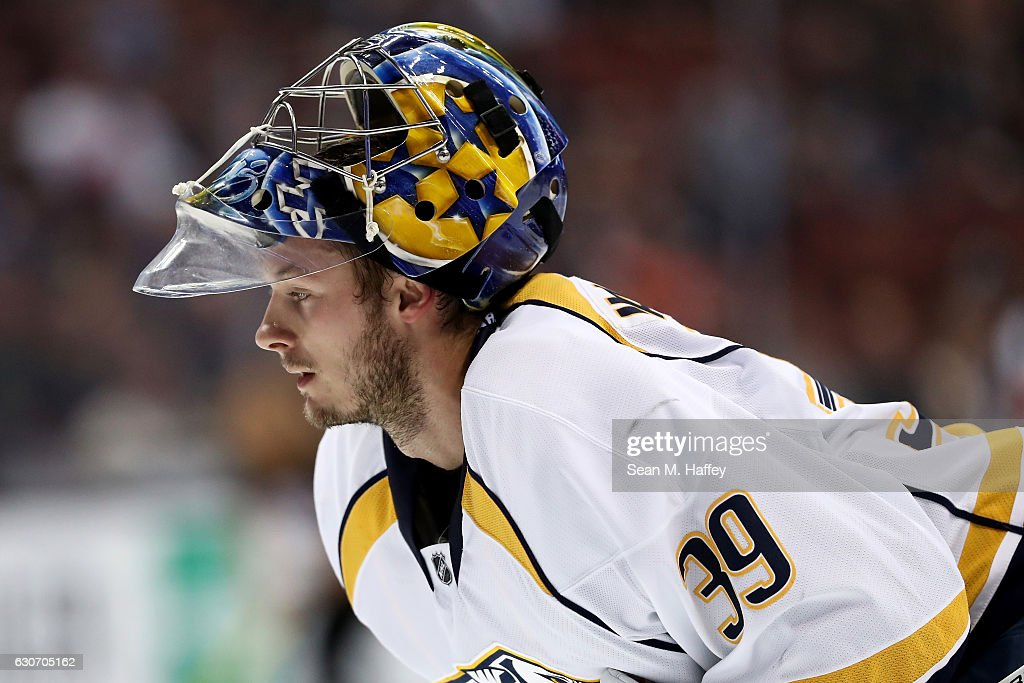 Marek Mazanec #39 of the Nashville Predators looks on during the third period of a game against the Anaheim Ducks at Honda Center on October 26, 2016 in Anaheim, California.