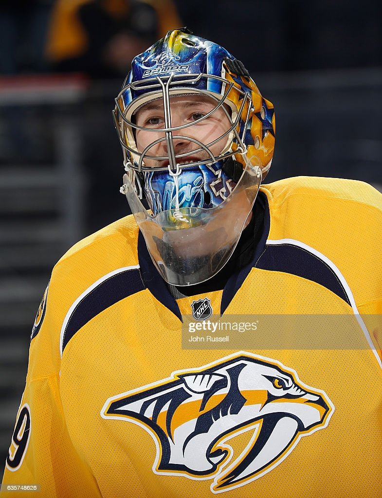 Marek Mazanec #39 of the Nashville Predators skates in warm-ups prior to the game against the St. Louis Blues during an NHL game at Bridgestone Arena on December 13, 2016 in Nashville, Tennessee.