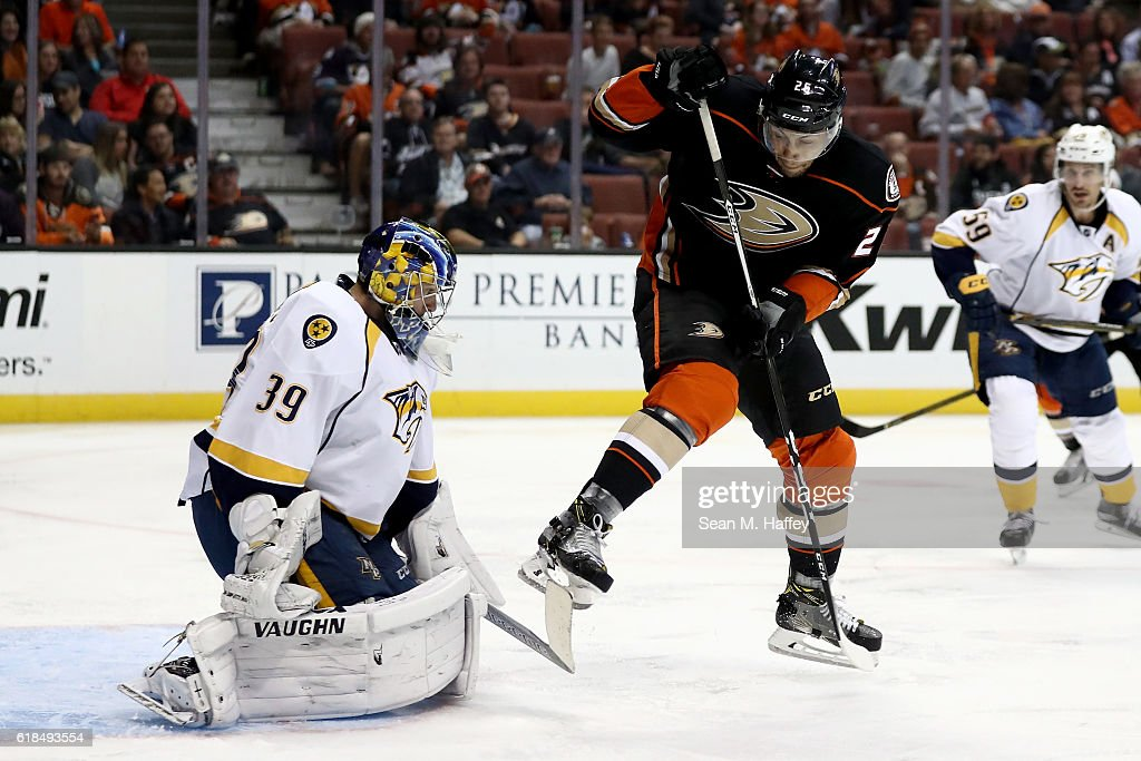 Marek Mazanec #39 of the Nashville Predators tends net as Emerson Etem #26 of the Anaheim Ducks attempts to deflect the shotduring the third period of a game at Honda Center on October 26, 2016 in Anaheim, California.