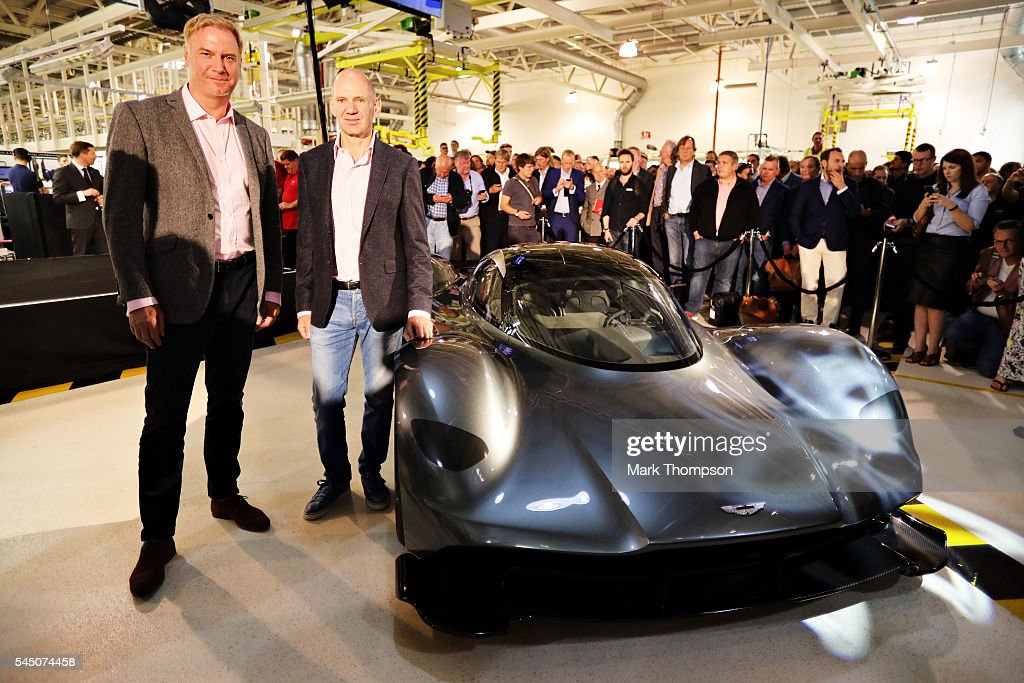 Marek Reichman Executive Vice President Chief Creative Officer Aston Martin Lagonda Ltd and Adrian Newey the Chief Technical Officer of Red Bull...