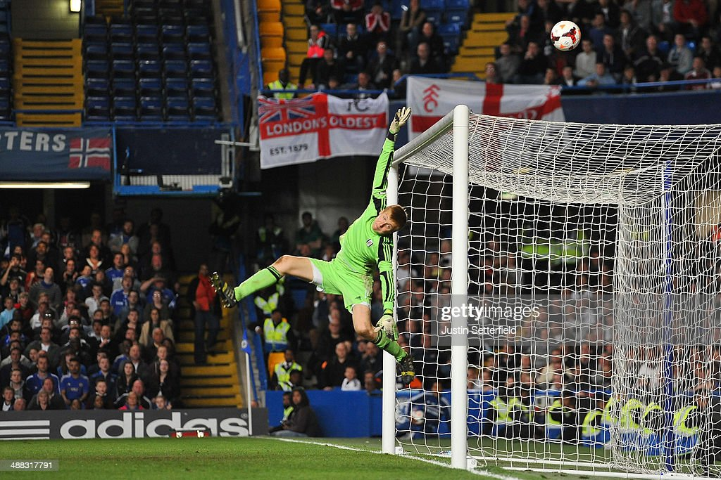 Marek Rodak of Fulham makes a save during the FA Youth Cup Final Second Leg match between Chelsea U18 and Fulham U18 at Stamford Bridge on May 5 2014...