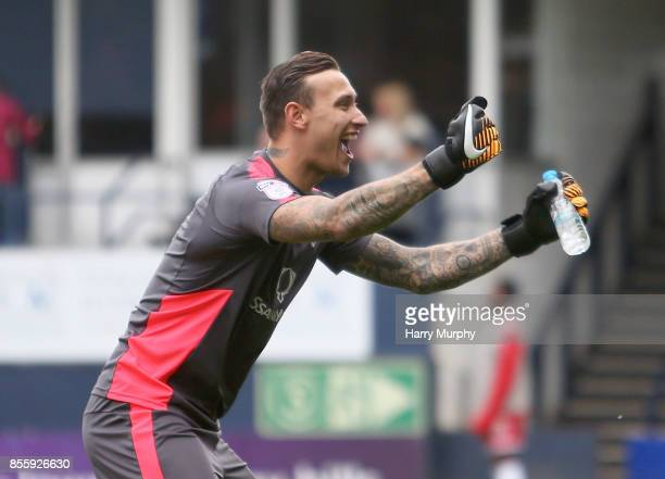 Marek Stech of Luton Town celebrates his teams third goal during the Sky Bet League Two match between Luton Town and Newport County at Kenilworth...
