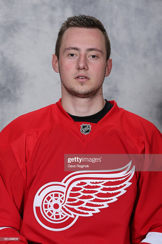 Marek Tvrdon #60 of the Detroit Red Wings poses for his official headshot for the 2013-2014 season at Centre Ice Arena on September 11, 2013 in Traverse City, Michigan.