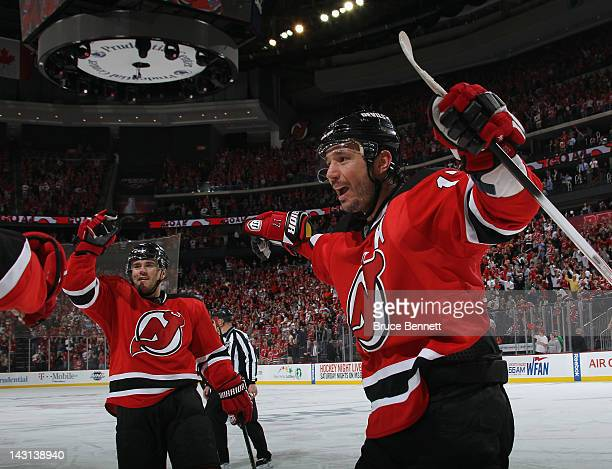 Marek Zidlicky and Ilya Kovalchuk of the New Jersey Devils celebrate a powerplay goal by teammate Zach Parise against the Florida Panthers at 608 of...