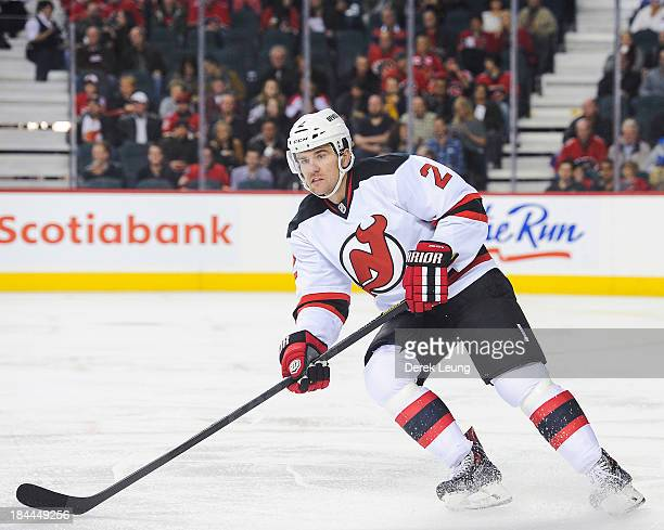 Marek Zidlicky of the New Jersey Devils skates against the Calgary Flames during an NHL game at Scotiabank Saddledome on October 11 2013 in Calgary...
