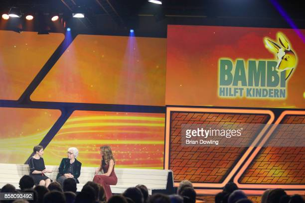 Marelle Hoeppner and two guests attend the Tribute To Bambi show at Station on October 5 2017 in Berlin Germany