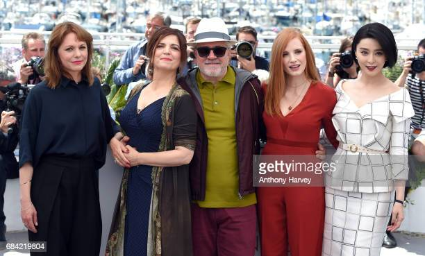 Maren Ade Agnes Jaoui Pedro Almodovar Jessica Chastain and Fan Bingbing attend the Jury photocall during the 70th annual Cannes Film Festival at...