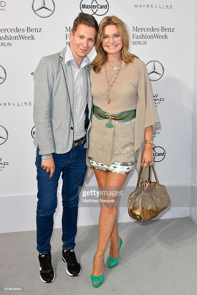 Maren Gilzer and Clemens Trischler attend the Guido Maria Kretschmer show during the Mercedes-Benz Fashion Week Berlin Spring/Summer 2017 at Erika Hess Eisstadion on June 29, 2016 in Berlin, Germany.